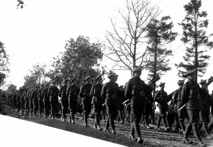 Men of the 2/10th Royal Scots march at a funeral for a fallen comrade - Photo courtesy of the Royal Scots Museum